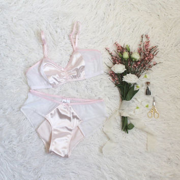 Pink Satin Gardenia Bra and Panties Lingerie Set with Sheer White Polka Dot Mesh Handmade Vintage Style Lingerie