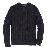 Linen and Cotton Aran Crewneck Sweater - Brooks Brothers