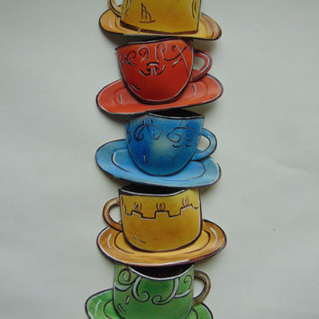 Vintage Joy Alldredge Coffee Tea Cup Teacup Metal Tin Wall Décor By Galaxy Of Graphics
