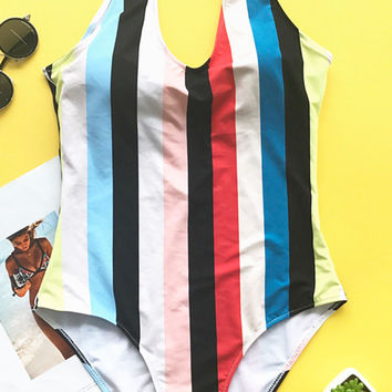 Cupshe Colorful Stripes Backless One-piece Swimsuit