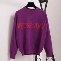 SRUILEE Fashion Week Women Sweater Chic Knitting Jumper Monday Tuesday Wednesday Thursday Friday Saturday Sunday Runway Pullover