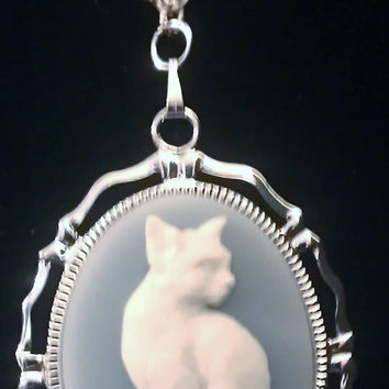 Cat, Cat cameo, Cat necklace, cat necklace, ready to ship, gifts for her, cat jewelry, retro,Silver cat necklace, crazy cat lady