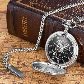 2017 NEW OUYAWEI Brand Mechanical Hand Wind Watch Men Fashion Luxury Pocket Watch Stainless Steel Clocks Man Pocket Fob Watches