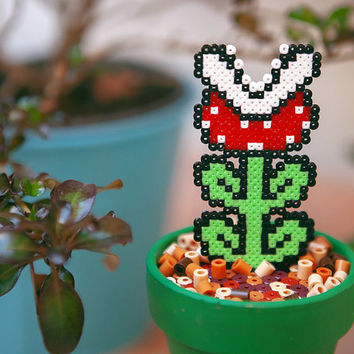Super Mario Bros 3 Inspired Tiny Potted Piranha Plant. Detachable.