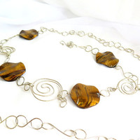 Tigers Eye Belt, hammered silver belly chain with large tigers eye stones. adjustable