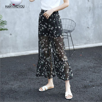2017 Summer Women High Waist Breathable Flowers Pattern Print Chiffon Flare Pants Elasitc Waist Fashion Spliced Hem Loose Pants