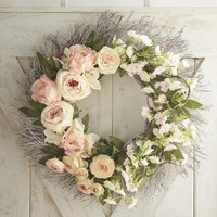 "Oversized Faux Peony & Cherry Blossom 26"" Wreath"