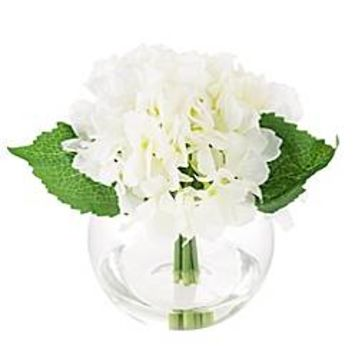 Pure Garden Artificial Hydrangea Floral Arrangement in White with Glass Sphere Vase