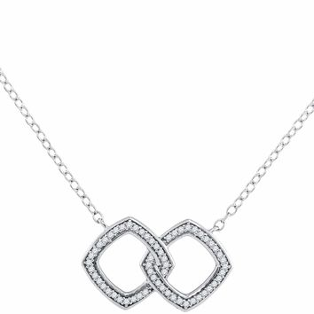 10kt White Gold Women's Round Diamond Linked Square Pendant Necklace 1-8 Cttw - FREE Shipping (US/CAN)