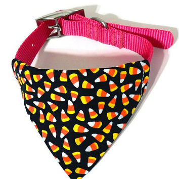XS/S/M/L Candy Corn Black Halloween Print Monogrammed/Personalized/Embroidered Slip On Dog Collar Bandana Pet Accessory for Dog or Puppy