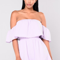 Caribbean Sea Off Shoulder Romper - Lavender