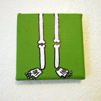 Green Skeleton Bone Legs Painting 4x4 canvas Acrylic