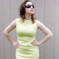1960's handmade yellow knit sleeveless day dress