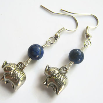 Dainty Elephant Earrings, Lapis Lazuli Earrings, India Hindu Jewelry, Buddhist Earrings, Boho Earrings, Yoga, Blue & Silver