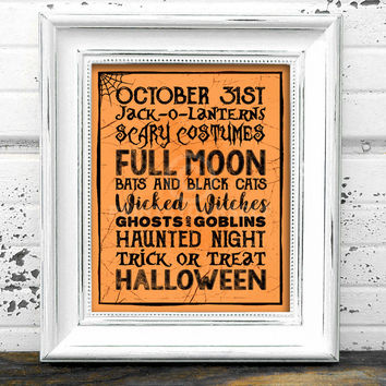 October 31st Halloween Print // Instant Download 8x10 Printable October 31st Halloween Sign // Halloween Sign // Halloween Print