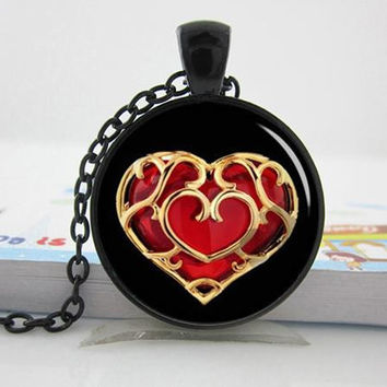 Legend of Zelda Pocket Watch Necklace pendant Zelda heart silver photo locket necklace pendant Personalized Gift vintage pendant necklace