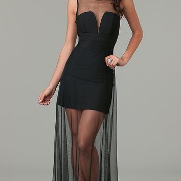 Black Sleeveless Overlay Mesh Maxi Dress