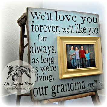 Gift For Grandma, Mothers Day, Grandparents Gift, Mom, Grandmother, Grandpa, Grandfather, Fathers Day, Personalized Picture Frame 16x16