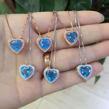 Natural blue topaz stone pendant S925 silver Natural Gemstone Pendant Necklace Simple elegant heart women fine jewelry