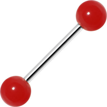 BOLD RED Barbell Tongue Ring
