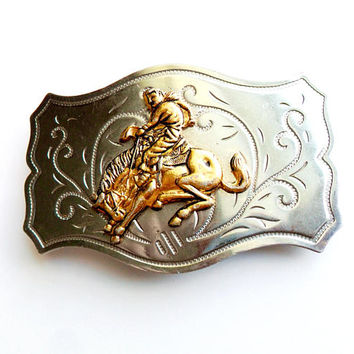 Vintage Western Belt Buckle Rodeo Bronco Horse Southwestern Cowboy Made in Japan Country Gold Silver Tone Stamped Metal