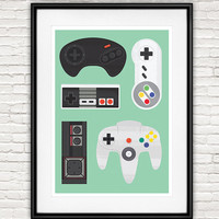 Retro poster, Gaming poster, Video Game art, Nintendo print, Game controller, Wall print, Nursery print, mint decor, Geekery poster, Nerdy