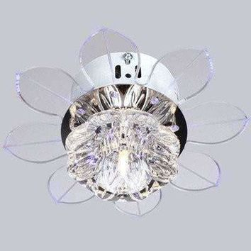 Corridor Stairs Crystal Ceiling Lamp Modern Lotus Lamp Foyer Living Room Kitchen Lights Fan Shape Crystal Chandelier