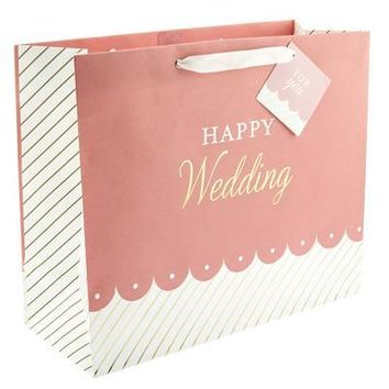 Wedding Scallop Stripe Large Gift Bag