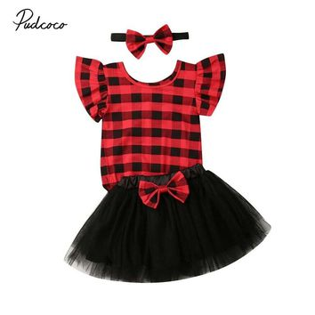 2019 Baby Summer Clothing Christmas Baby Girl Clothes Plaid Sleeveless Romper+Tulle Tutu Dress+Headband Bowknot 3PCS Outfit