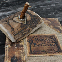 Custom Wedding Guest Book leather and burlap rustic by crearting