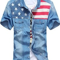 jeansian Men's Fashion USA Flag Short Sleeves Denim Shirts Tops MAD004