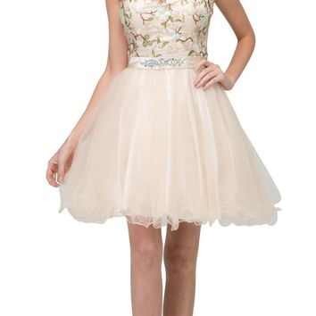 Embroidered Bodice Homecoming Short Dress Cap Sleeved Champagne