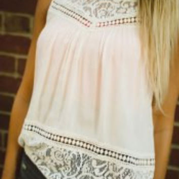 White Lace Chiffon Blouse