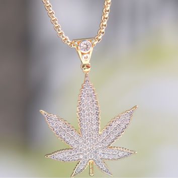 18K Layered Yellow gold Finish Weed Charm Chain set