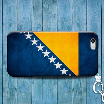 iPhone 4 4s 5 5s 5c 6 6s plus iPod Touch 4th 5th 6th Generation Blue Yelow Star Country Flags Bosnia Bosnian European Flag Case Phone Cover