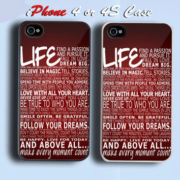 LIFE QUOTE Custom iPhone 4 or 4S Case Cover