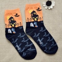 FunShop Woman's Halloween Bats Pattern Cotton Ankel Socks in 2 Colors Orange F1104