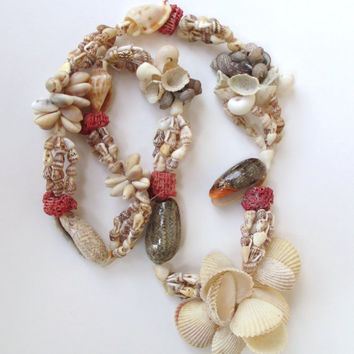 """SEASHELL and CORAL NECKLACE, Mixed Cowrie and other Shells, 31"""", Beach, Ocean, Tropical Jewelry, Vintage Shell Necklace"""
