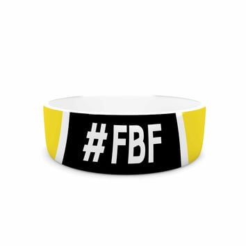 "KESS Original ""Flash Back Friday"" Black Yellow Pet Bowl"