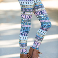 Kids Pastel Aztec Leggings
