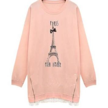 Paris Tower Print Long Sleeve Shirt