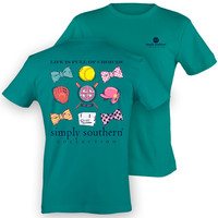 Simply Southern Preppy Softball Bows Bats Gloves Girlie Bright T Shirt