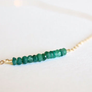 Genuine Emerald Necklace - 14k Gold or Sterling Silver - Bead Bar Necklace - Delicate Necklace - Emerald Green - March Birthstone - Layering