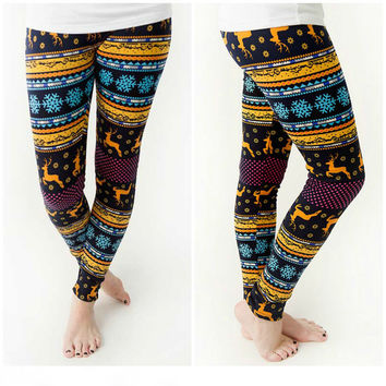Christmas Autumn Winter Print Deer Leggings [9658864207]