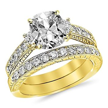 CERTIFIED 4.43 CTW Three Stone Vintage Bridal Set with Wedding Band Engagement Ring