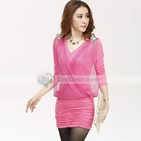 Dianice Cotton Pullover V Neck Solid Slim Long Sleeve Women Dress - DinoDirect.com