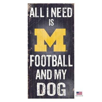 Michigan Wolverines Distressed Football And My Dog Sign
