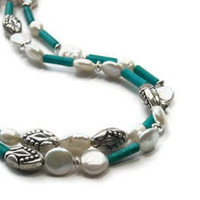 Coin Pearl Necklace, Turquoise, Freshwater, Double Strand, Sterling Silver, Summer, Beach