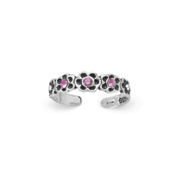 Flowers with Pink Crystals Toe Ring in Oxidized Sterling Silver