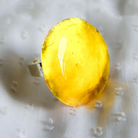 Big Yellow resin rings Minimal Art Transparent Yellow  casual ring. Bold color ring. Elegant stylish design, strong shinny yellow color